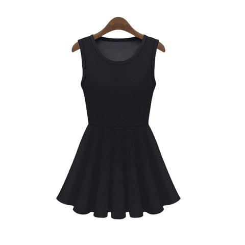 Women's Charming Mesh Splicing Narrow Waist Flouncing Sleeveless Dress