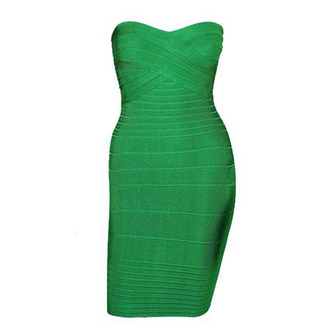 Solid Color Sleeveless Polyester Sexy Style Low-Cut Women's Bandage Dress
