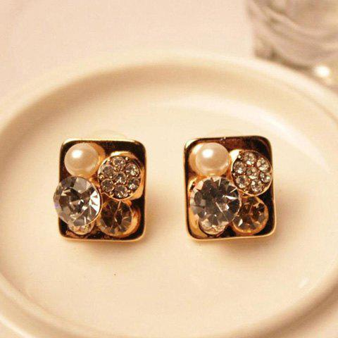 Pair of Brilliant Rhinestoned Faux Pearl Embellished Square Earrings For Women - GOLD