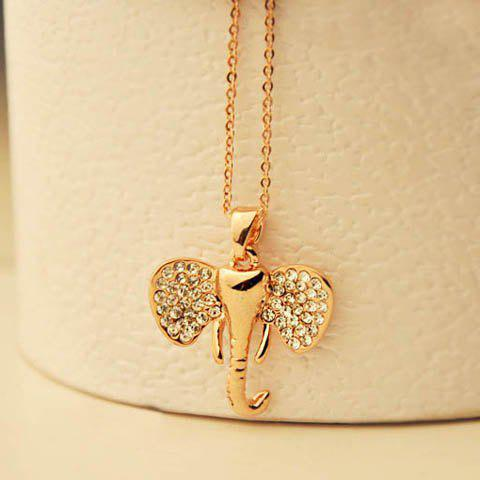 Chic Style Rhinestoned Elephant Head Shape Pendant Necklace - COLOR ASSORTED