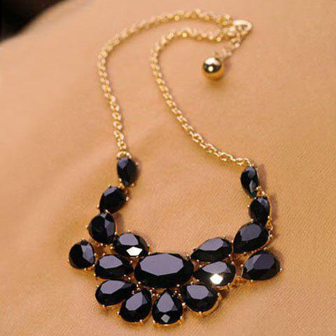 Hot Sale Faux Gem Embellished Waterdrop Shape Pendant Necklace - BLACK