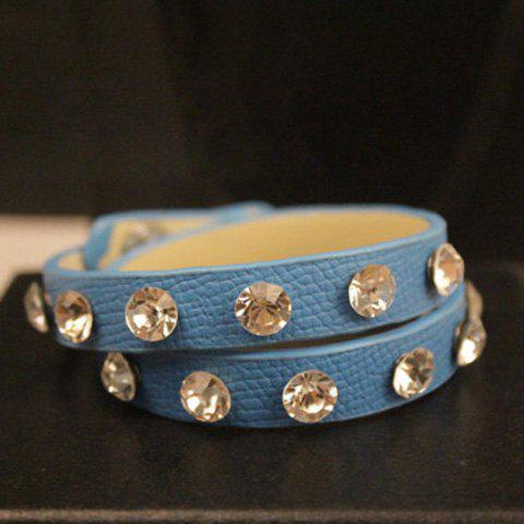 Faux Leather Rhinestoned Multilayered Bracelet - COLOR ASSORTED