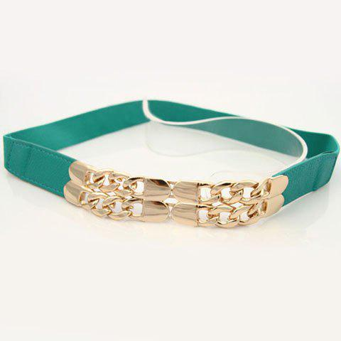 Women's Fashional Metal Buckle Embellished Splicing Waist Belt - BLUE