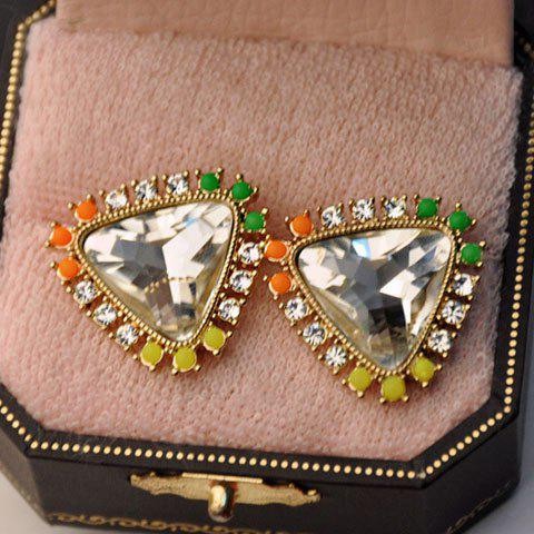 Pair of Rhinestone Faux Crystal Design Triangle Stud Earrings - WHITE
