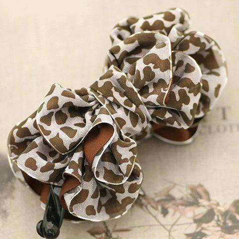 Fashion Leopard Print Embellished Multi-Layered Bowknot Hairpin For Women - COLOR ASSORTED