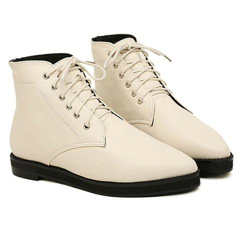 New Arrival Pointed Toe and Flat Heel Design Short Boots For Women - WHITE 38
