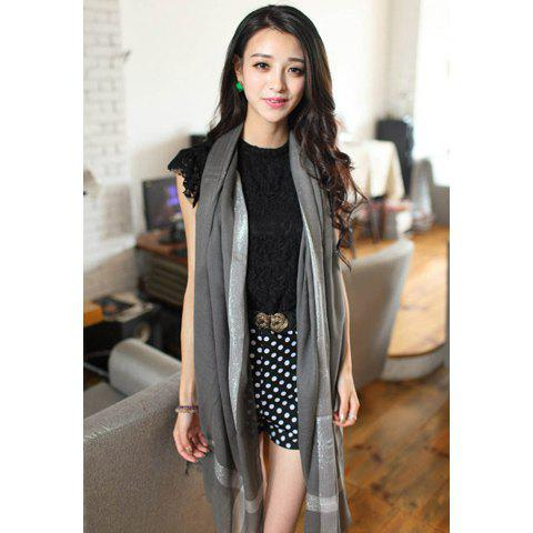 Chic Style Silver Color Stripe Design Raw Edge Cotton Scarf - DEEP GRAY