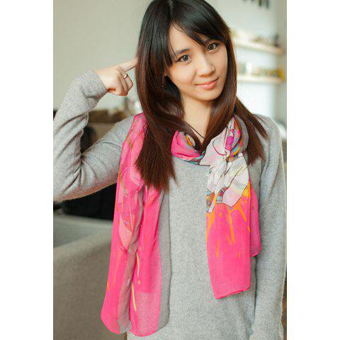 Ethnic Style Multicolor Scribble Pattern Embellished Faux Silk Scarf - ROSE