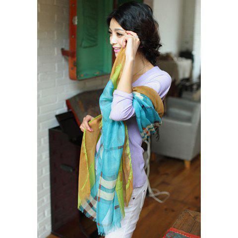 Chic Style Checked Cotton Embellished Raw Edge Scarf - COLOR ASSORTED