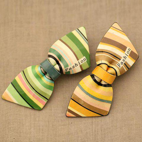 Sweet Style Chromatic Stripe Embellished Sharp Corner Bowknot Hairpin For Women