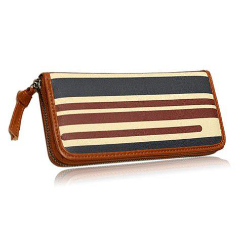 New Arrival Striped and Zipper Design Wallet For Women - BLUE