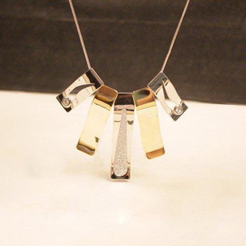 Simple Rhinestoned Hollow Design Long Pendant Alloy Necklace For Women - AS THE PICTURE