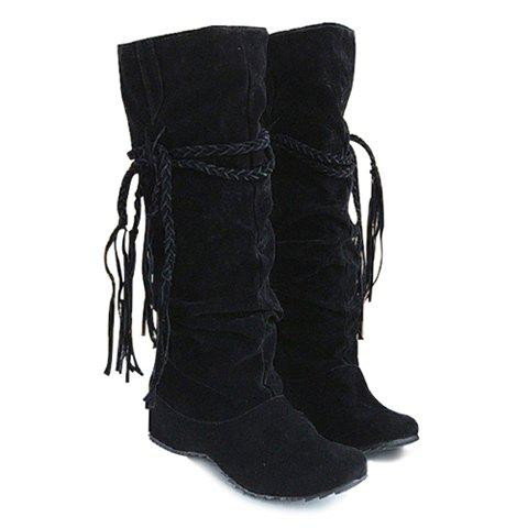 New Arrival Tassels and Pure Color Design Boots For Women - BLACK 39