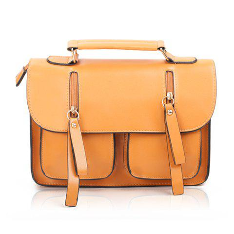 Vintage Style Zipper and PU Leather Design Women's Tote Bag - BROWN