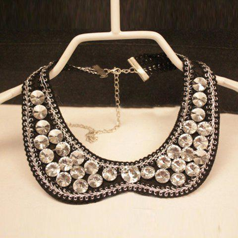 Vintage Chic Style Rhinestone Embellished Fake Collar Necklace For Women