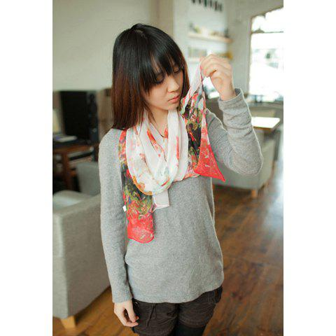 Fashionable Stylish Flower Printing Decorated Scarf For Women - COLOR ASSORTED