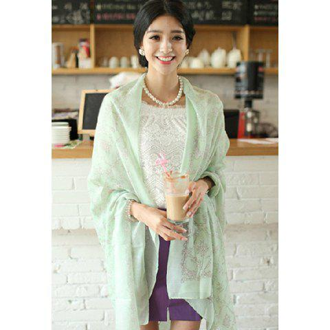 Fresh Stylish Plant Pattern Decorated Scarf For Women - COLOR ASSORTED
