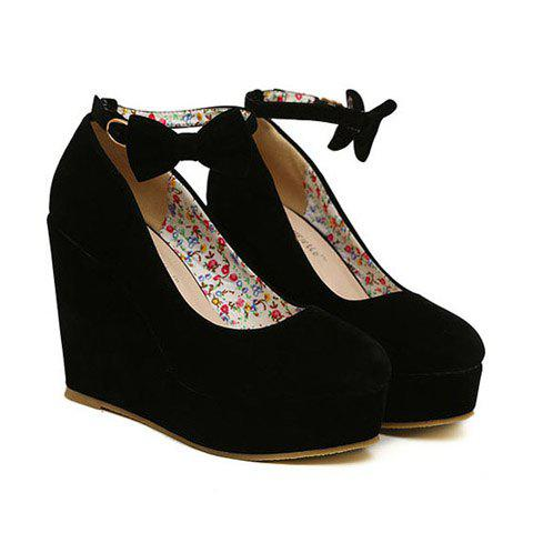 New Arrival Bowknot and Buckle Design Wedge Shoes For Women - BLACK 36