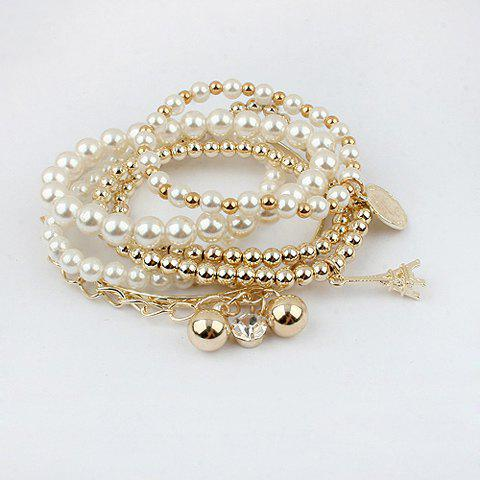 Multilayered Faux Pearl Decorated Star Shape Pendant Bracelet - COLOR ASSORTED