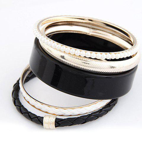 5PCS Of Elegant Chic Style Faux Pearl and Leather Design Bracelets For Women