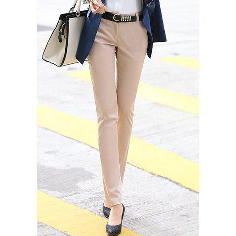 Women's Graceful Solid Color Trousers Casual Pants, KHAKI, S in ...