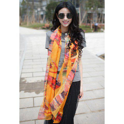 Fashionable Stylish Color-Blocked Printing Decorated Scarf For Women - COLOR ASSORTED