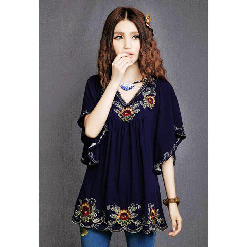 Women's Retro Style Embroidered V-Neck Batwing Sleeve Blouse - DEEP BLUE ONE SIZE