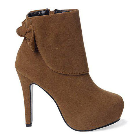 New Arrival Bowknot and Side Zipper Design Short Boots For Women - BROWN 37