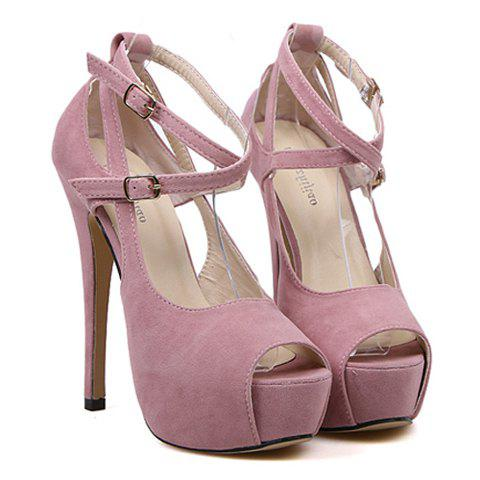 New Arrival Stylish Belt and Buckle Design Peep Toed Shoes For Women - PURPLE 38