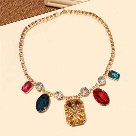 Chic Colored Gemstone Embellished Big Pendant Alloy Necklace For Women