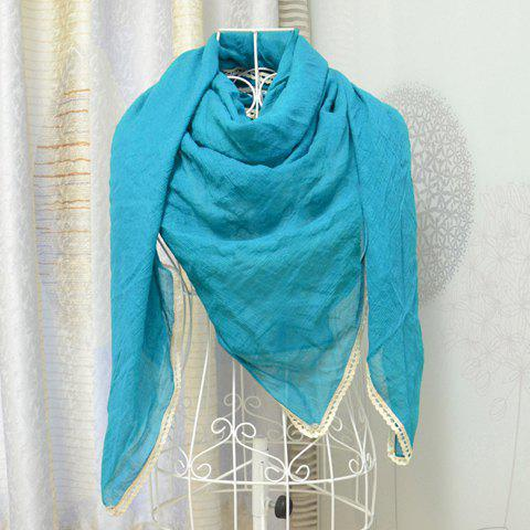 Fashionable Stylish Solid Color Flower Hem Decorated Scarf For Women - COLOR ASSORTED