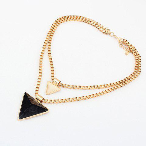 Simple Candy Color Triangle Pendant Multi-Layered Alloy Necklace For Women