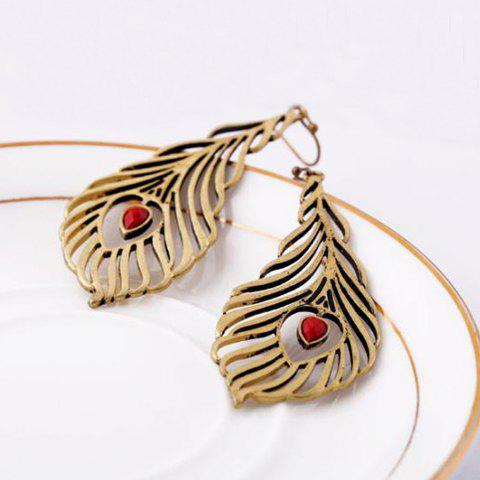 Pair Of Delicate Ethnic Style Heart Embellished Feather Shape Drop Earrings For Women