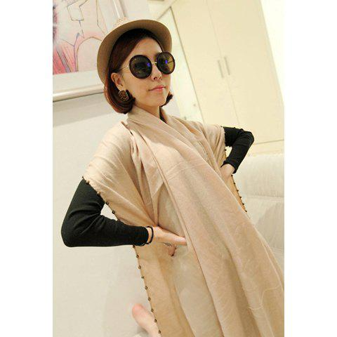 Fashionable Stylish Beads Decorated Solid Color Scarf For Women - COLOR ASSORTED
