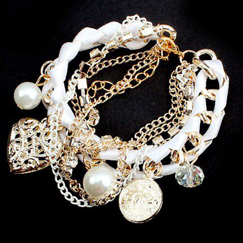 Heart Shape Pendant Faux Pearls Embellished Bracelet - COLOR ASSORTED