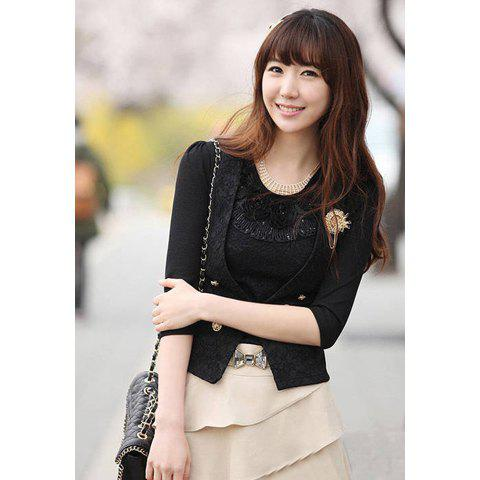 Slim Fit V-Neck Double-Breasted Lace Splicing Women's Blazer - BLACK XL