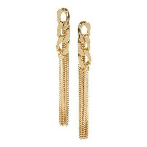 Pair of Chain Design Long Tassel Drop Earrings - AS THE PICTURE