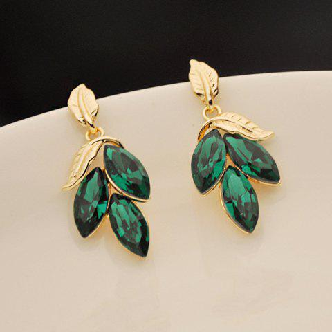 Pair Of Gorgeous Chic Style Faux Gem Embellished Leaf Shape Drop Earrings For Women