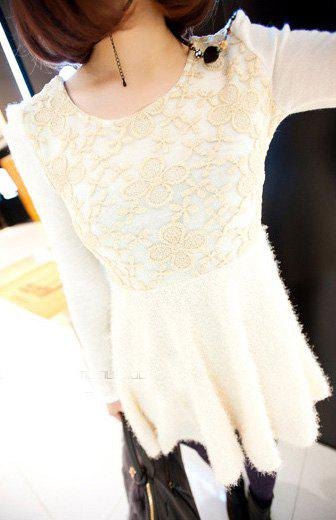 Sweet Style Lace Embellished Scoop Neck Long Sleeve Knit Women's Dress - WHITE ONE SIZE