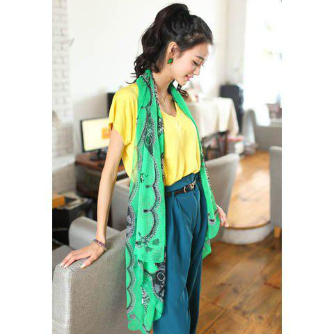 Vintage Color Matchhing Printing Scarf For Women -  GREEN
