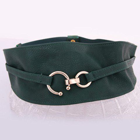 Elegant Alloy Buckle Soft Colored Wide Belt For Women - COLOR ASSORTED