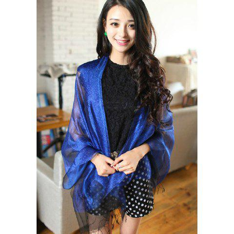 Chic Style Gold Thread and Gauze Embellished Tassels Scarf - BLUE