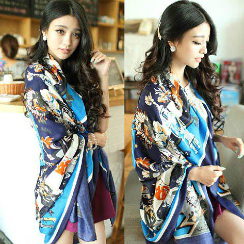 Vintage Color Matchhing Abstract Print Scarf For Women - BLUE