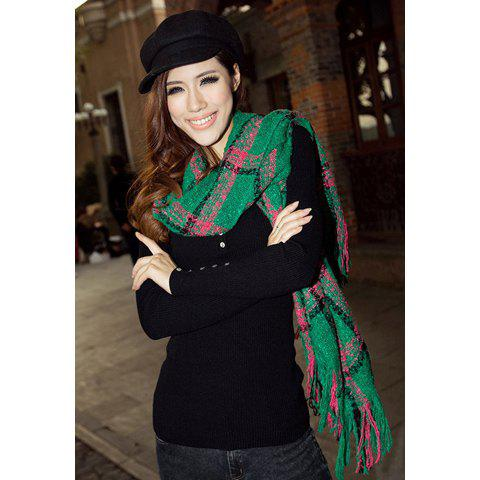 Fashionable Stylish Tassel Decorated Multi-Colored Scarf For Women - COLOR ASSORTED