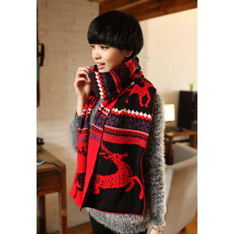 Fashionable Stylish Knitting Deer Pattern Decorated Scarf For Women - COLOR ASSORTED