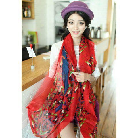 Fashion Geometric Print Contrast Color Long Scarf For Women - COLOR ASSORTED