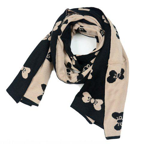 Sweet Butterfly Print Embellished Knitted Wool Scarf - WHITE