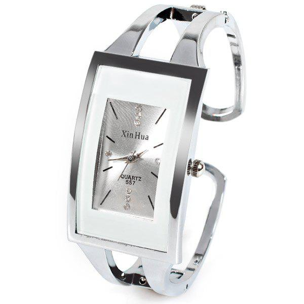 XinHua Quartz Watch with Diamond Dots and Strips Indicate Steel Watch Band for Women - Purple - WHITE
