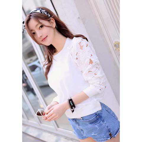 Hollow Out Scoop Neck Long Sleeves Lace Splicing Ladylike Style Cotton Blend Women's T-Shirt - WHITE ONE SIZE