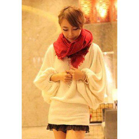 Sweet Boat Neck Solid Color Splicing Long Sleeve Sweater For Women - WHITE ONE SIZE
